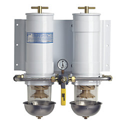 1000 MA Series Dual Manifold Marine Turbine Diesel Filter - with Heat Shields, Selector Valve & Water Probes