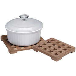 LARGE TRIVET, 8IN SQUARE, TEAK