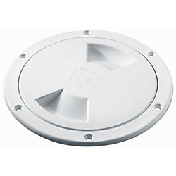 Inspection Hatch - 4 in White Screw Out Deck Plate