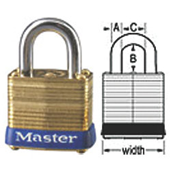 LAMINATED BRASS PADLOCK 1-1/8IN
