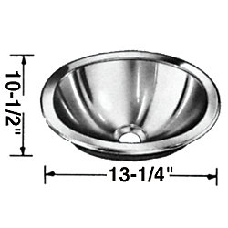 POL. OVAL SINK 10.5IN X 13.25IN X 5IN
