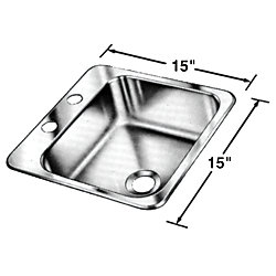 SINGLE SINK 15IN X 15IN X 5.5IN