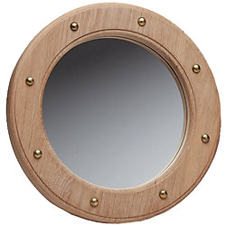PORTHOLE MIRROR, TEAK, 10-1/2IN DIA.