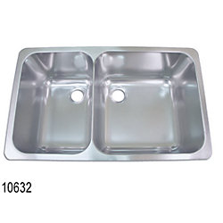 SS SINK DOUBLE 24X14.5X8IN SATIN