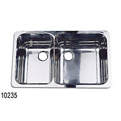SS DOUBLE SINK 22-3/4INX13-1/4INX6IN