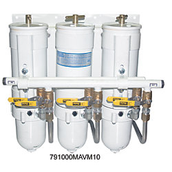 1000 MAM Series Triple Manifold Marine Turbine Diesel Filter - with All Metal Bowls & Selector Valves