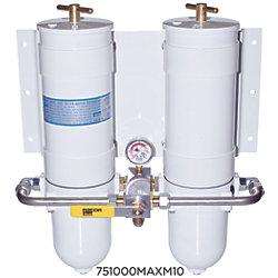 1000 MAM Series Dual Manifold Marine Turbine Diesel Filter - with All Metal Bowls & Selector Valve