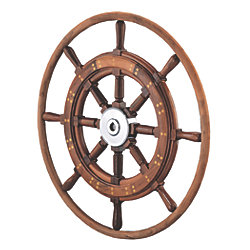 Teak Yacht Wheel with Teak Rim