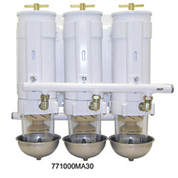 1000 MA Series Triple Manifold Marine Turbine Diesel Filter - Triple Capacity with Heat Shields