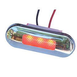 12V 5W SS SANTIAGO RED 3-LED LIGHT OVAL