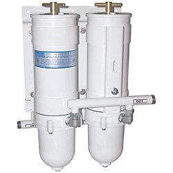 1000 MAM Series Dual Manifold Marine Turbine Diesel Filter - Metal Bowl, No Selector Valve