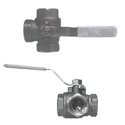 1/2IN NPT BRS 3 WAY BALL VALVE