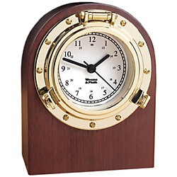 PORTHOLE DESK CLOCK BRASS W/BASE