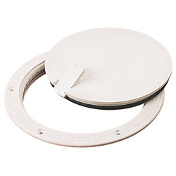 8IN WHT SMOOTH DECK PLATE POPOUT CLR LID