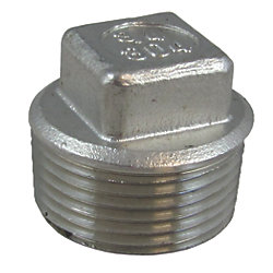 1-1/4IN NPT SS CORED SQR HEAD PLUG
