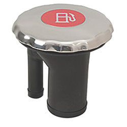 Discontinued: EPA Compliant Sealed Ratcheting Stainless Steel Scalloped Cap Angled Neck Fuel Fill - with Metallic Decal