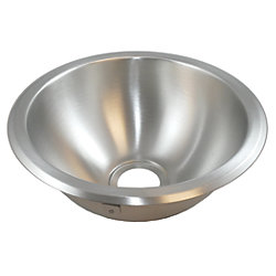 "Half Sphere Sink 10-1/2"" Wide - Brushed Stainless Steel Finish, Without Studs"