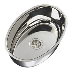 "Oval Flat Bottom Sink 15-1/2"" Wide - Mirror Stainless Steel Finish, Without Studs"