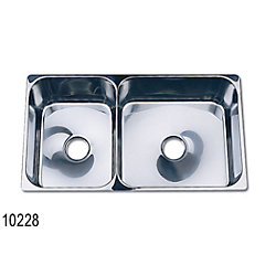 SS DOUBLE SINK 22-5/8IN X 13IN X 8IN