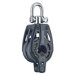 57 mm Aluminum Black Magic Double Block - Swivel, Becket