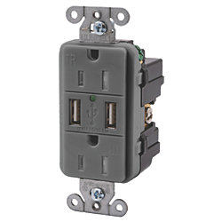 Duplex Receptacle with Dual USB 2.0 Charging Ports