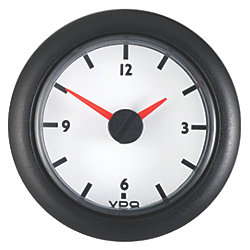 "2-1/16"" Analog Clock 12V DC - White Dial"