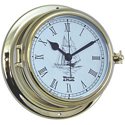 Endurance II 135 Quartz Clock w/Ship Graphics - Brass