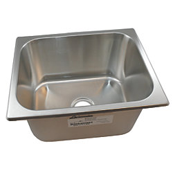 "Rectangle Sink 13"" Wide - Brushed Stainless Steel Finish, Without Studs"