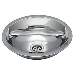 """Oval Sink 13-1/4"""" Wide - Mirror Stainless Steel Finish, Without Studs"""