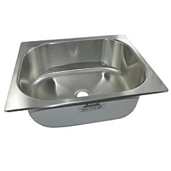 "Rectangle Sink 20"" Wide - Brushed Stainless Steel Finish, Without Studs"