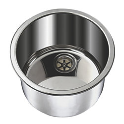 "Cylinder Sink 11-1/2"" Wide - Mirror Stainless Steel Finish, Without Mounting Studs"