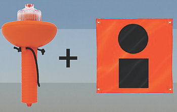 SOS Signal Light and Daytime Distress Signal Flag