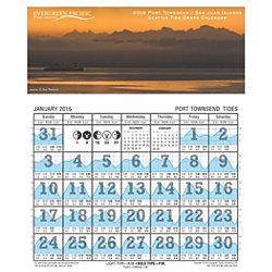2016 Port Townsend-San Juans Tide Graph Calendar
