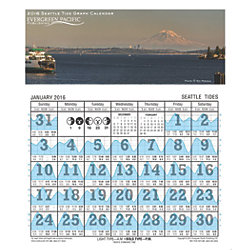 2016 Seattle Tide Graph Calendar