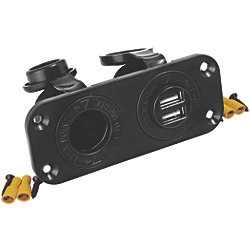 Double USB and 12 or 24 Volt Power Socket Panel