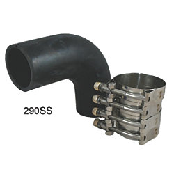 2IN BLK RUBBER 90DEG ELBOW W/CLAMPS