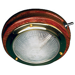BRASS/TEAK DOME LIGHT-5IN LENS
