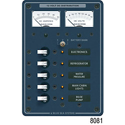 12V A SERIES PANEL 5 POS VOLT/AMMETER