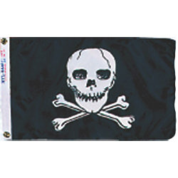 12INX18IN NYL-GLO JOLLY ROGER FLAG