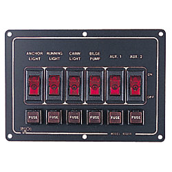 ALUM SWITCH PANEL HORIZ 6 SWITCH