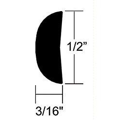 ALUM HALF OVAL MOULDING 1/2IN X 12FT